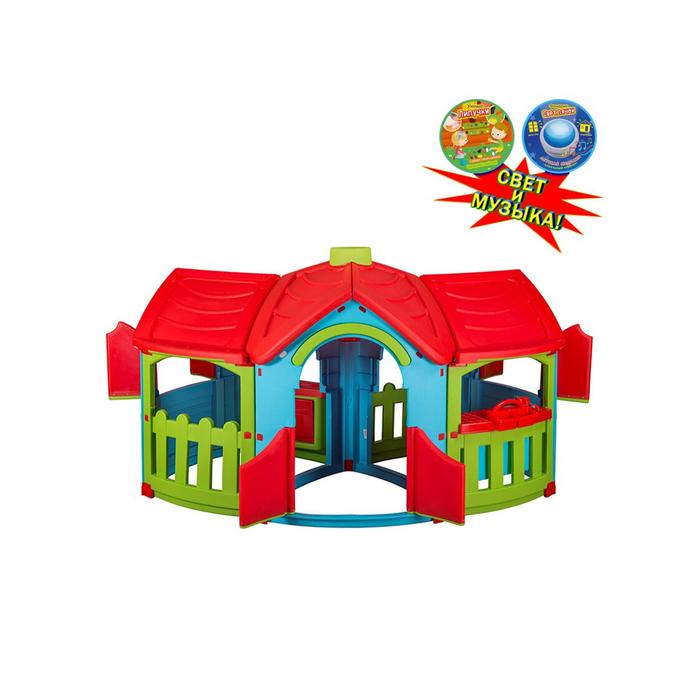 Домик игровой с двумя пристройками, цвет голубой, зелёный, красный, со светом и музыкой