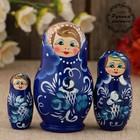 Матрёшка «Гжель», тёмно-синее платье, 3 кукольная, 9 см
