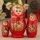 Матрёшка «Хохлома», красное платье, 3 кукольная, 9 см