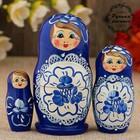 Матрёшка «Гжель», синее платье, 3 кукольная, 9 см