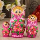 Матрёшка «Розочки»,  розовое платье, 3 кукольная, 9 см