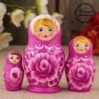 Матрёшка «Роза»,  фиолетовое платье, 3 кукольная, 9 см