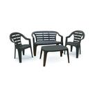 Набор мебели MADURА, 4 предмета, скамья 2-местная, 2 кресла, стол, пластик
