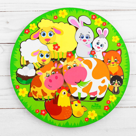 "Logic puzzle ""Animals and babies"", d=20 cm"