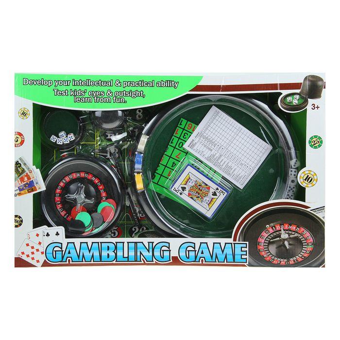 Игра Набор: рулетка, 1 колода карт, 30 фишек, 10 кубиков, стакан, карандаш и блокнот (Порвана коробка)
