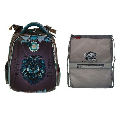 ecbd23f1944b Рюкзак каркасный Across 192A 36*29*17 + мешок для обуви серый ACR18-192A-2