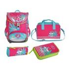 Ранец на замке DerDieDas 404 Ergoflex 40*32*25 для девочки, с наполнением, «Фламинго»