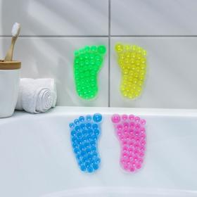 Мини-коврик для ванны «Нога», 11×12 см, цвет МИКС Ош