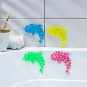 Мини-коврик для ванны «Дельфин», 11×12 см, цвет МИКС Ош