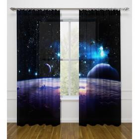 Фотошторы «Космическое пространство», размер 145 х 260 см - 2 шт., габардин