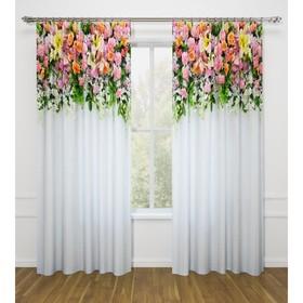 Фотошторы «Композиция из цветов», размер 145 х 260 см - 2 шт., габардин
