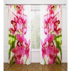 Фотошторы «Душистая орхидея», размер 145 х 260 см - 2 шт., габардин