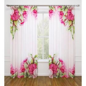 Фотошторы «Куст прекрасных роз», размер 145 х 260 см - 2 шт., габардин