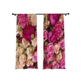 Фотошторы «Розово - белый букет», размер 145 х 260 см - 2 шт., габардин