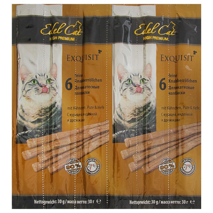 Лакомство Edel Cat для кошек, колбаски, курица, индейка, дрожжи, 6 шт, 40 г