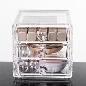 Акриловый органайзер для косметики Diamond, 3 секции