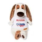 """Мягкая игрушка """"Бартоломей"""" в футболке с принтом Россия, 27 см"""