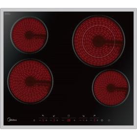 Варочная поверхность Midea MCH64464X, электрическая, 4 конфорки, черное стекло
