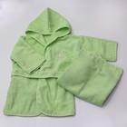 Комплект, халат 6-24 месяцев, полотенце, цвет зелёный, махра М-2/4