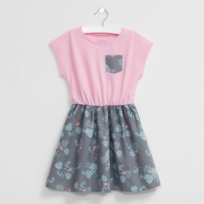 """Платье детское KAFTAN """"Фламинго"""", рост 98-104 см (30), 3-4 года, серый/розовый"""
