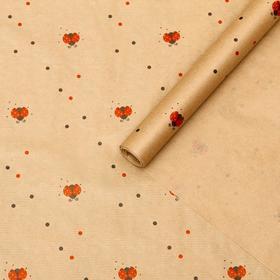 Бумага упаковочная крафт 'Божьи коровки', 0,72 х 10 м, 40 г Ош