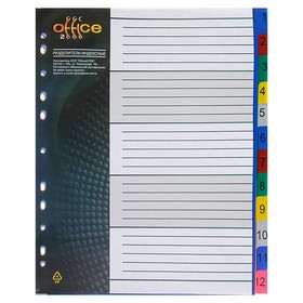 Разделитель пластиковый А4+, 1-12, цветной, 140 мкм Office-2000 Ош
