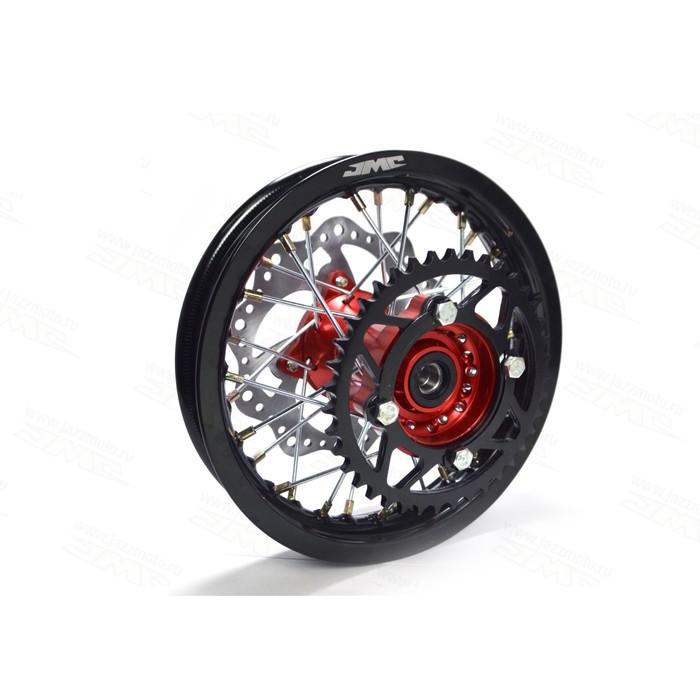 Обод колеса, JMC, усиленный, кросс 1,6х10, задний, ступица CNC, DOT 7116, алюминий, в сборе   364526
