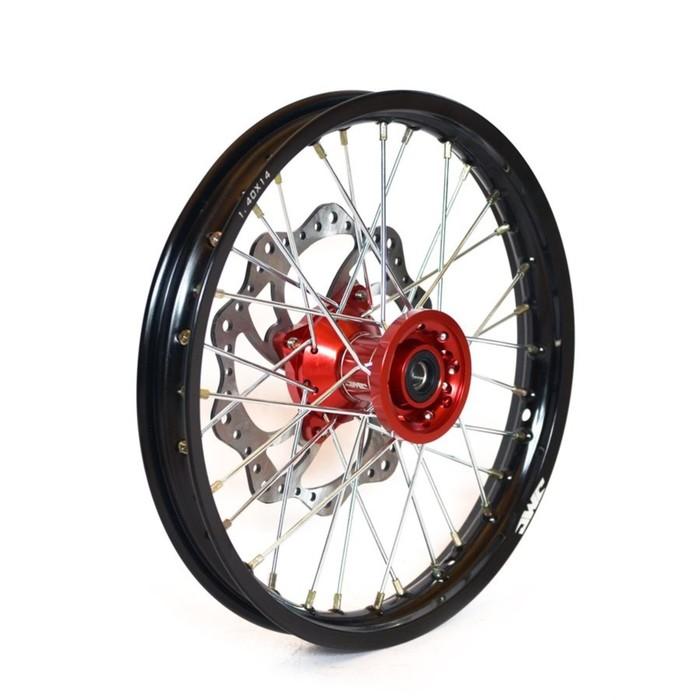 Обод колеса, JMC, усиленный, кросс 1,4х14, передний, ступица CNC, DOT 7116, алюминий,в сборе   36452
