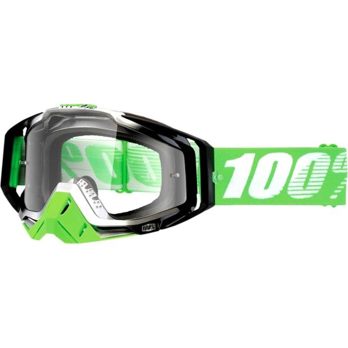 Очки кросс 100% Racecraft Organic, прозрачная линза, зеленый