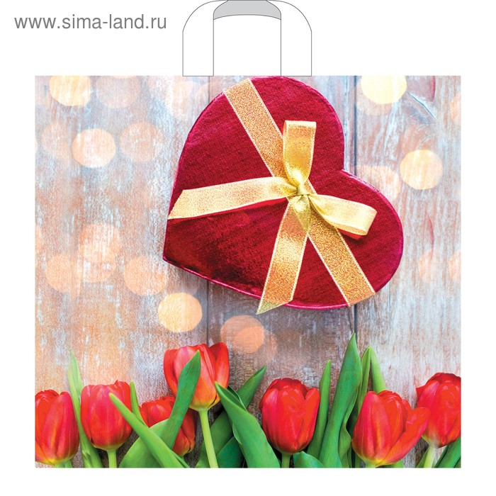 """Пакет """"Триумф тюльпанов"""", полиэтиленовый с петлевой ручкой, 40х36 см, 70 мкм"""