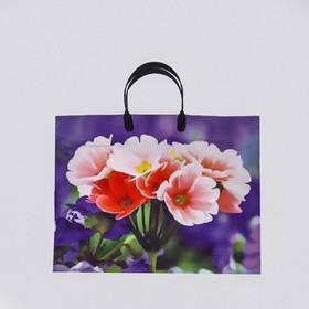 """Пакет """"Ассорти цветы"""", полиэтиленовый с пластиковой ручкой, 38 х 35 см, 100 мкм, МИКС"""