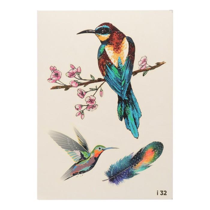 """Татуировка переводная """"Птицы и сакура"""" (032)"""