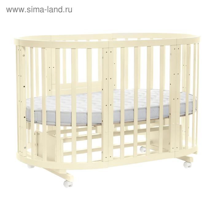 Детская кроватка-трансформер Noony Cozy 5 в 1, круглая/овальная, слоновая кость