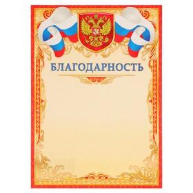 Благодарность 'Универсальная' символика РФ, красная рамка, узоры Ош