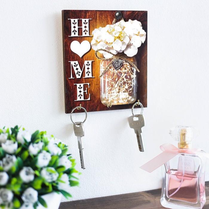 "Ключница деревянная ""Home"" - фото 814874"