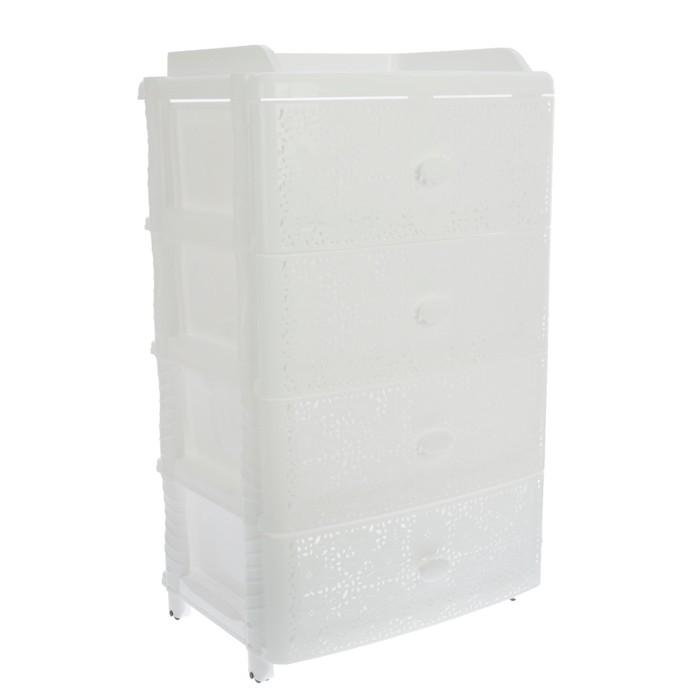 Комод широкий 4-х секционный «Лаура», цвет белый - фото 303368463