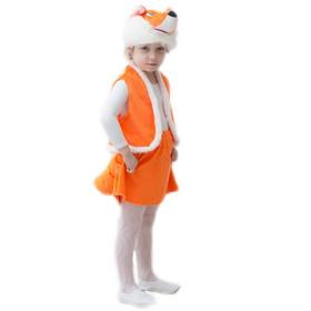 """Карнавальный костюм """"Лисенок"""", мех, шапка, жилет, юбка с хвостом, рост 104-116"""
