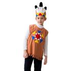 """Карнавальный костюм """"Индеец"""", трикотаж, шапка с перьями, безрукавка, рост 122-134 см"""
