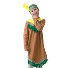 """Карнавальный костюм """"Индианка"""", трикотаж, платье, повязка с перьями, рост 122-134 см, тесьма МИКС"""