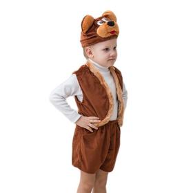 """Карнавальный костюм """"Мишка"""", мех, шапка, жилет, шорты, рост 104-116"""