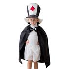 """Карнавальный костюм """"Скоморох"""", трикотаж, шляпа, бабочка, плащ, рост 122-134 см"""
