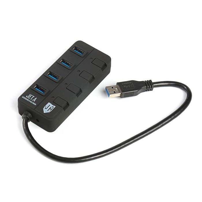 Разветвитель USB (Hub) Jet.A JA-UH35 на 4 порта USB 3.0,Hot Plug,с выключателями портов,чёрн
