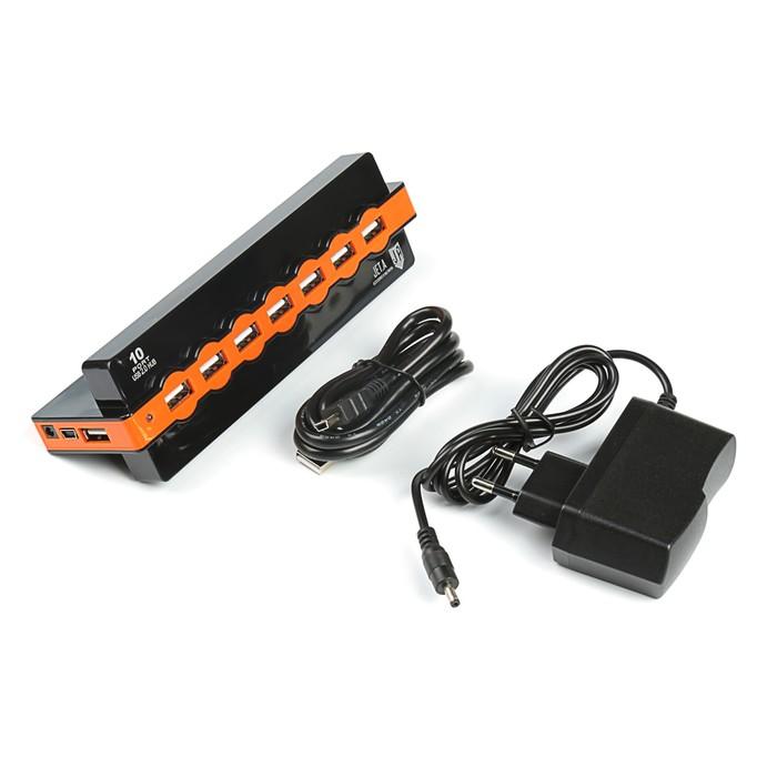 Разветвитель USB (Hub) Jet.A JA-UH28,чёрный(10xUSB 2.0,Hot Plug,блок пит от 220V в комплект)