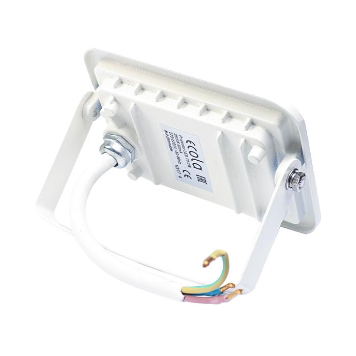 Прожектор светодиодный Ecola, 10 Вт, 220 В, 2800K, IP65, Белый, 110x80x26