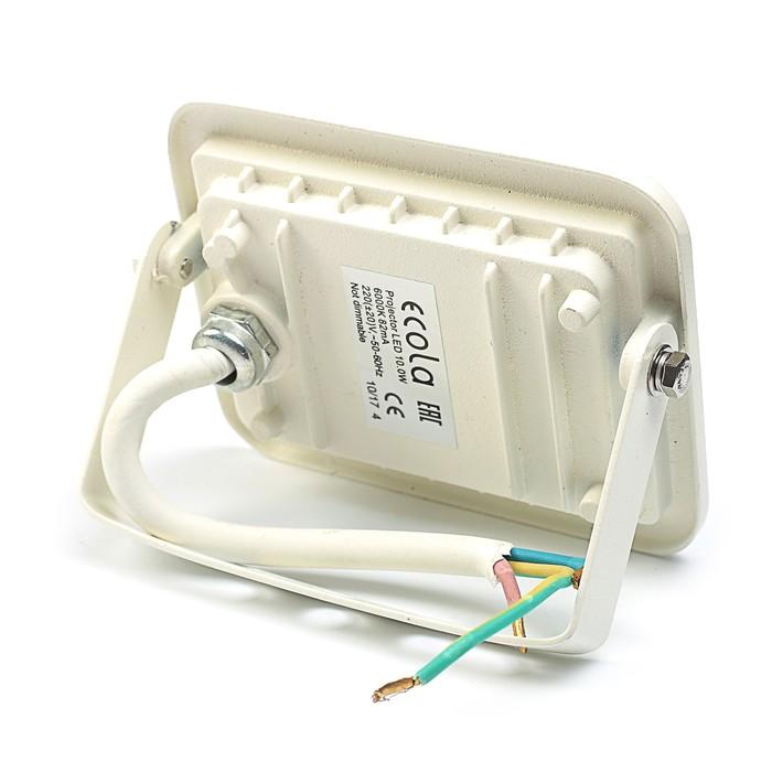 Прожектор светодиодный Ecola, 10 Вт, 220 В, 6000K, IP65, Белый, 110x80x26