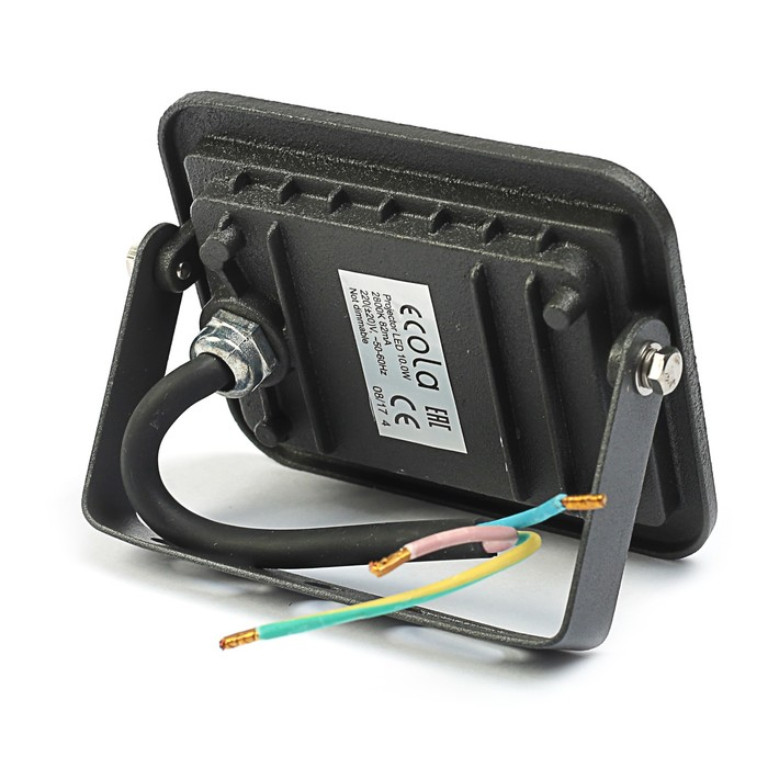 Прожектор светодиодный Ecola, 10 Вт, 220 В, 2800K, IP65, черный, 110x80x26