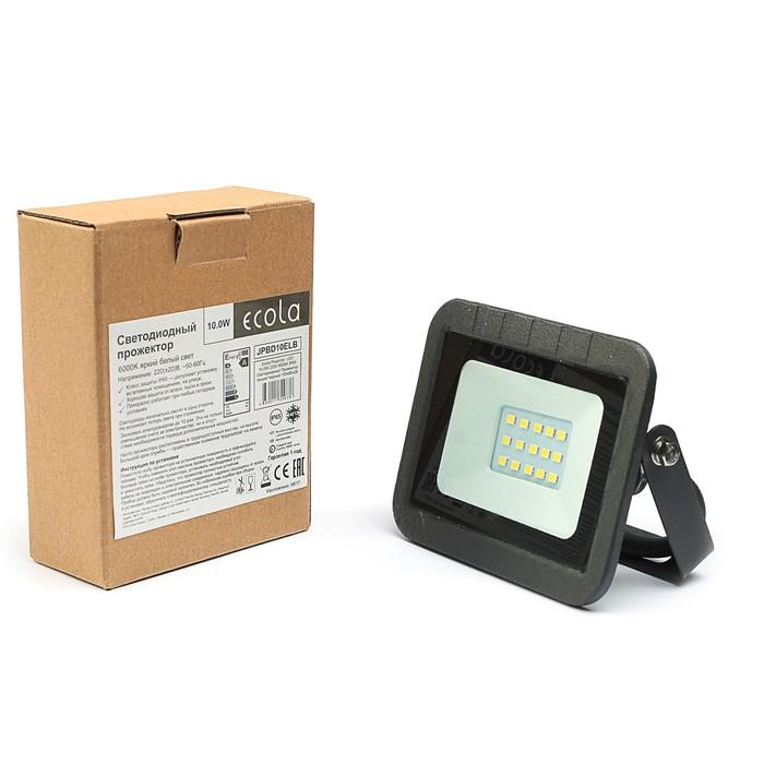 Прожектор светодиодный Ecola, 10 Вт, 220 В, 6000K, IP65, черный, 110x80x26