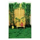"""Фотофон винил """"Жёлтая скамейка в саду"""" стена+пол 80х125 см"""