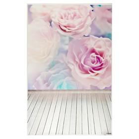 """Фотофон винил """"Акварельные розы"""" стена+пол 80х125 см"""