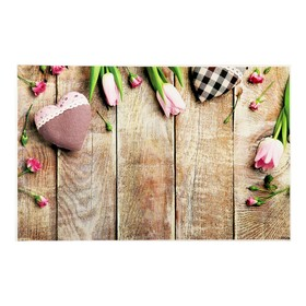 """Фотофон винил """"Цветы и сердца на досках"""" 80х125 см"""